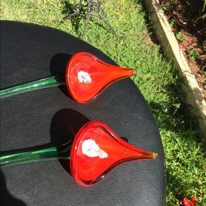 Other - Orange Red Hand Blown Calla Lilys